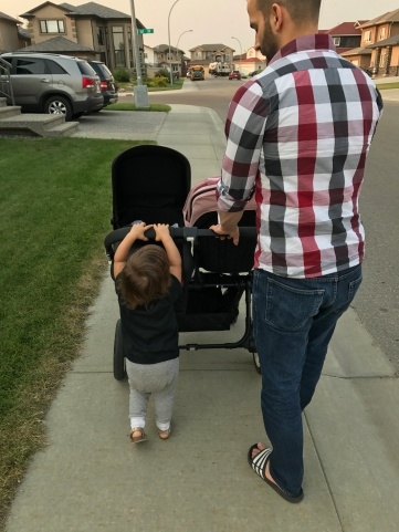 family date: walking to Starbucks